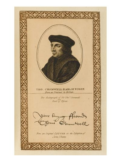 Thomas Cromwell, Earl of Essex Statesman with His Autograph--Giclee Print