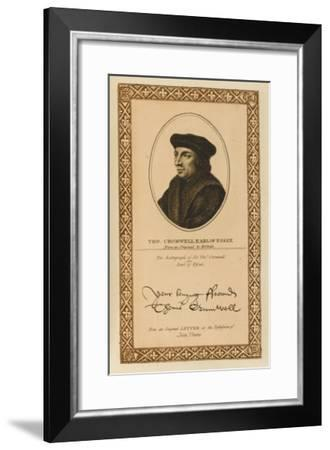 Thomas Cromwell, Earl of Essex Statesman with His Autograph--Framed Giclee Print