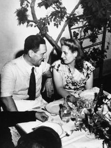 Argentinean Presidential Candidate Juan Peron Chatting with His Wife Evita during campaign party by Thomas D. Mcavoy