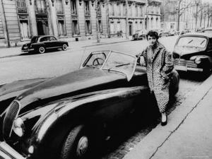 Authoress Francoise Segan Standing Beside Her Jaguar by Thomas D. Mcavoy