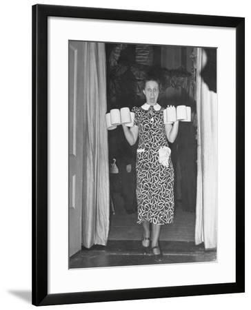 Barmaid Tipping over Glasses of Beer as Camera Flash Scares Her at Hans Luther's Farewell Party