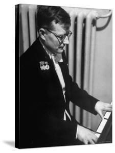 Composer Dmitri Shostakovich Playing Piano by Thomas D. Mcavoy