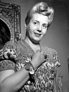 Eva Peron, Wife of Argentinean Pres. Candidate. Posing in Her Apartment by Thomas D. Mcavoy