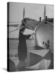 """First Lady Eleanor Roosevelt on the Hull of Pan American's New Flying Boat the """"Yankee Clipper"""" by Thomas D. Mcavoy"""