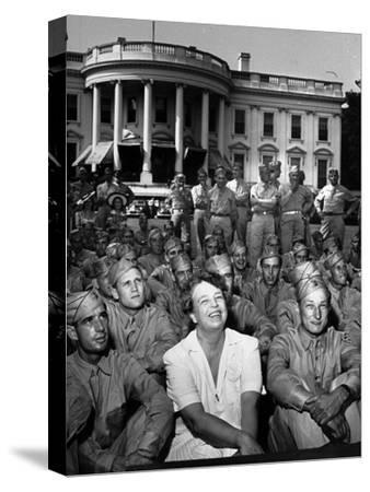 First Lady Eleanor Roosevelt with a Large Group of US Soldiers