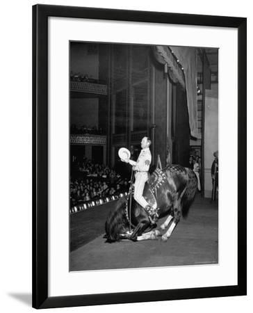 Gene Autry Astride His Famous Horse Champion on Bent Front Knees, Touching Head to Floor, on Stage