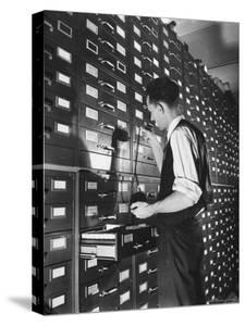 Man Looking at Film Records Containing Social Security Numbers at the Social Security Board by Thomas D. Mcavoy