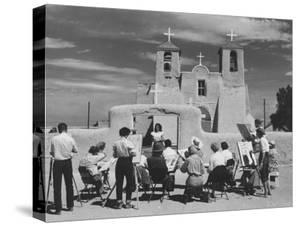 People Sketching Outside Ranchos de Taos Mission Church by Thomas D. Mcavoy