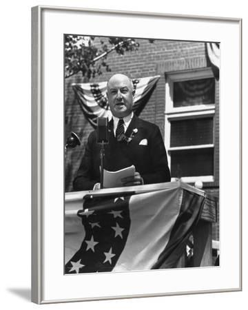 Politician James A. Farley Making a Speech During His Trip