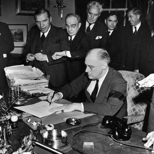 Pres. Franklin D. Roosevelt Signing Declaration of War Following Japanese Bombing of Pearl Harbor by Thomas D. Mcavoy
