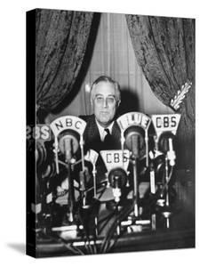 """President Franklin D. Roosevelt Making a """"Fireside Chat"""" Speech on Radio During WWII by Thomas D. Mcavoy"""