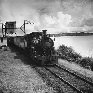Railroad Train Following Tracks Beside Panama Canal by Thomas D. Mcavoy