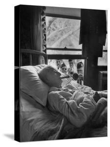 Serenaded by Horston American Legion Oldest Civil War Veteran Walter Williams in Bed with Cigar by Thomas D. Mcavoy