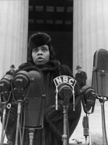 Singer Marian Anderson Conducting a Voice Test Prior to Concert on Steps of the Lincoln Memorial by Thomas D. Mcavoy