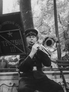 Soviet Military Band Giving Farewell Concert Before Evacuation of Austria by Thomas D. Mcavoy