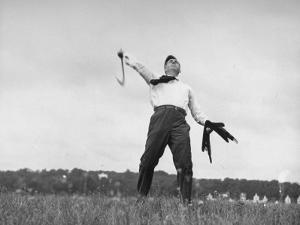 Vice Presidential Candidate Henry A. Wallace, Throwing a Boomerang in a Field by Thomas D. Mcavoy