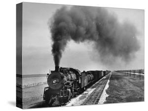 View of a Freight Train Crossing an Open Prairie by Thomas D. Mcavoy