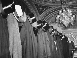 View of Cloakroom Showing the Hats of the Diplomats Attending Hamilton Lewis's Funeral by Thomas D. Mcavoy