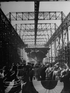 View of the Launching of the U.S. Navy Aircraft Carrier Ticonderoga by Thomas D. Mcavoy