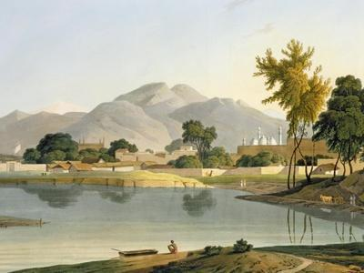 View at Nijeibabad, near the Coaduwar Gaut, Rohilcund, plate XIII from Part 6 of 'Oriental Scenery'
