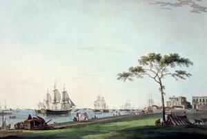 """View Taken on the Esplanade, Calcutta, Plate I from """"Oriental Scenery"""", Published 1797 by Thomas Daniell"""