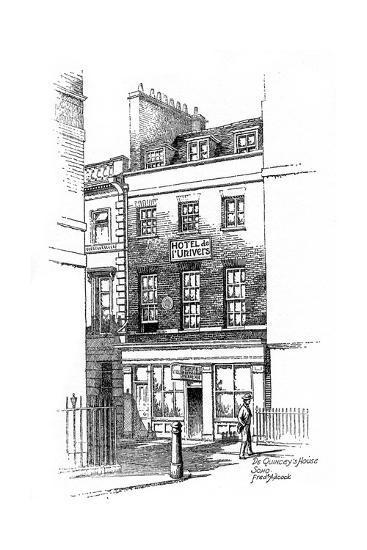 Thomas De Quincey's House, Soho, London, 1912-Frederick Adcock-Giclee Print