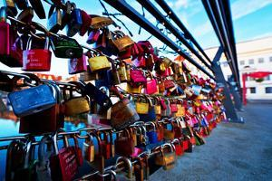 Love Locks at the Railing of the Travebr?cke in L?beck by Thomas Ebelt