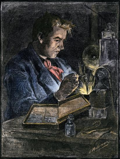 Thomas Edison in His Workshop, 1870s--Giclee Print