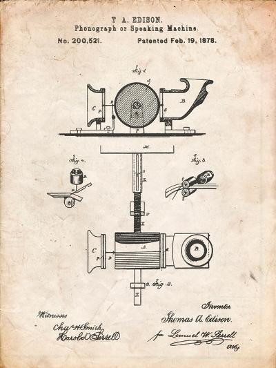 Thomas Edison Speaking Telegraph-Cole Borders-Art Print