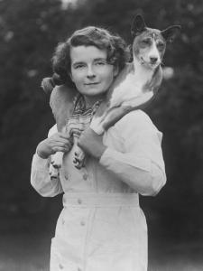 Mrs Tudor-Williams with One of Her Basenjis Kwango of the Congo by Thomas Fall