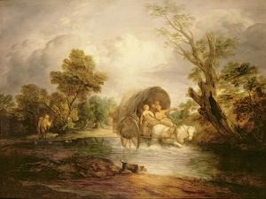 A Country Cart Crossing a Ford, C.1786 by Thomas Gainsborough