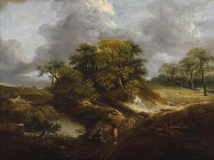 A Landscape, Traditionally Identified as a View Outside Sudbury by Thomas Gainsborough