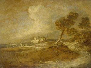 A Landscape with Horsemen by Thomas Gainsborough