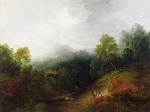 A Mountain Valley with Rustic Figures, C.1773-7 by Thomas Gainsborough