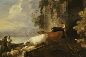 A River Landscape with Rustic Lovers, a Mounted Herdsman Driving Cattle and Sheep Over a Bridge by Thomas Gainsborough