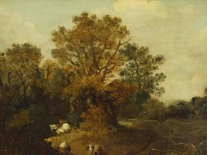 A Wooded Landscape with Faggot Gatherers by a Path, a White Horse Tethered Beyond by Thomas Gainsborough