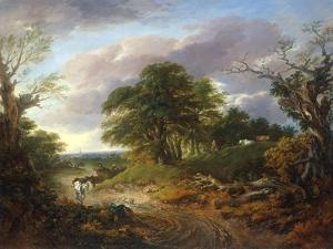 A Wooded Landscape with Peasants in a Country Waggon by Thomas Gainsborough