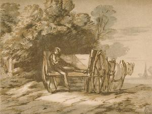 Boy with a Cart. - Sketch with Pen and Wash, 18th Century by Thomas Gainsborough