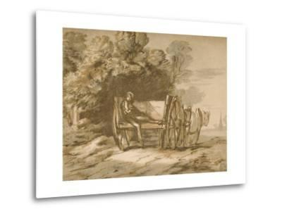 Boy with a Cart. - Sketch with Pen and Wash, 18th Century