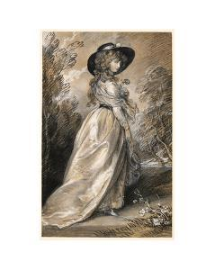 Chalk study of a Lady by Thomas Gainsborough