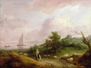 Coastal Landscape with a Shepherd and His Flock, C.1783-4 by Thomas Gainsborough