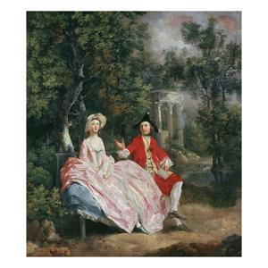 Conversation in a Park, Probably a Portrait of the Artist and His Wife, Margaret Burr, 1728-98 by Thomas Gainsborough
