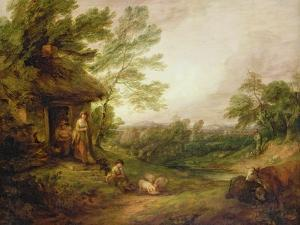 Cottage Door with Girl and Pigs, C.1786 by Thomas Gainsborough