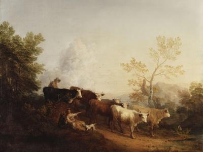 Evening; A Landscape with Cattle returning Home