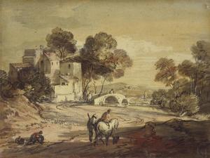 Italianate Landscape with Travellers on a Winding Road by Thomas Gainsborough