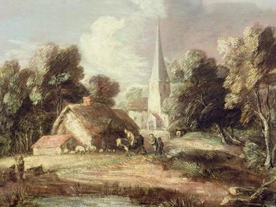Landscape with a Church, Cottage, Villagers and Animals, C.1771-2