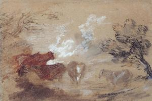 Landscape with Cattle and a Horse in Windy Weather, C.1785 by Thomas Gainsborough