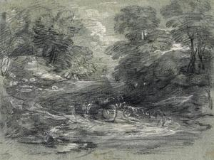 Landscape with Farm Cart on a Winding Track Between Trees by Thomas Gainsborough