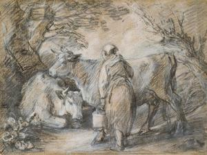 Milkmaid with Two Cows (Black Chalk and Stump Heightened with White by Thomas Gainsborough