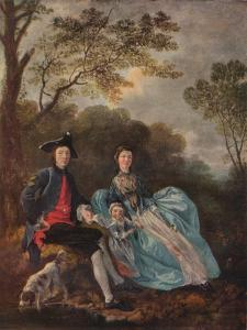 'Portrait of the Artist with his Wife and Daughter', c1748 by Thomas Gainsborough
